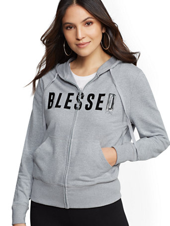 "Soho Street   Grey ""Blessed"" Zip Front Hooded Sweatshirt by New York & Company"