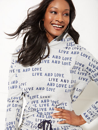 "Soho Street   Grey ""Live And Love"" Hooded Sweatshirt by New York & Company"