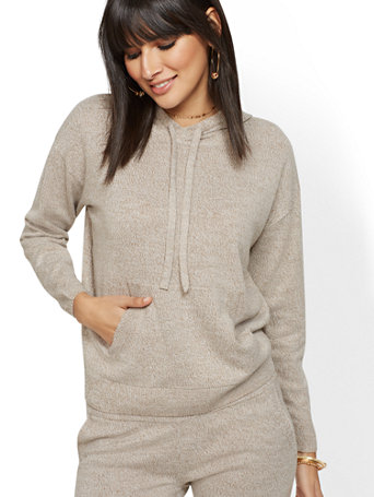 Soho Street   Hooded Marled Sweater by New York & Company