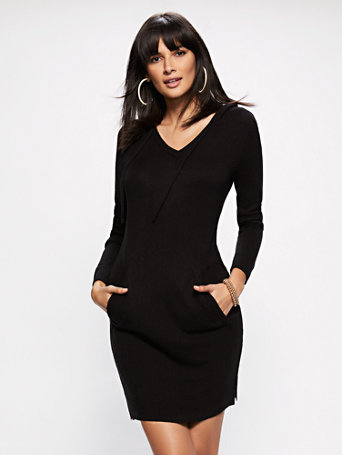 Soho Street   Hooded Sweater Dress by New York & Company