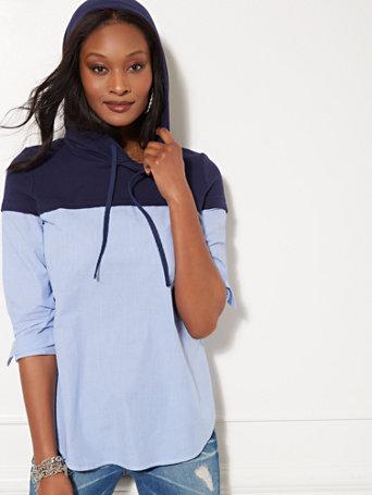 Soho Street   Hooded Sweatshirt & Poplin Twofer Top by New York & Company
