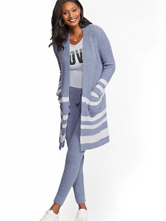 Soho Street   Stripe Boucle Duster Cardigan by New York & Company
