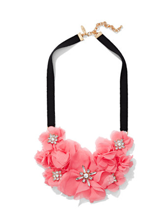 Sparkling Floral Statement Necklace