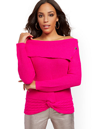 Split Collar Sweater by New York & Company