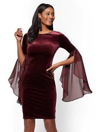 Statement Sleeve Velvet Sheath Dress by New York & Company