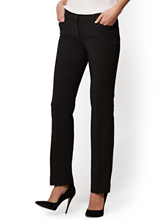 NY&Co Women's Straight-Leg Pants - Signature Fit - All-Season Stretch - 7th Avenue Black