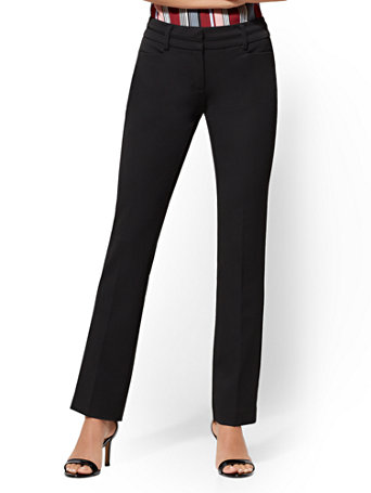 NY&Co Women's Straight-Leg Pants - Signature Fit - Superstretch - 7th Avenue Black
