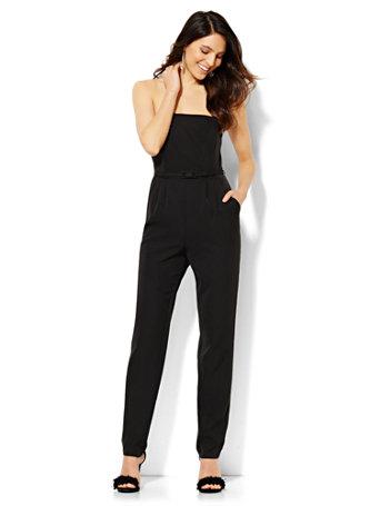 Strapless Belted Jumpsuit - Black
