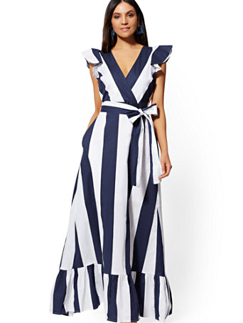 Stripe Flounce Maxi Dress