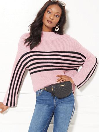 Stripe Mock Neck Sweater by New York & Company