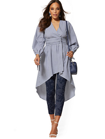 Stripe Ruched Poplin Wrap Maxi Shirt by New York & Company