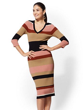 Stripe V-Neck Sweater Dress