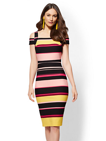 ff4d15f1 NY&C: Striped Cold-Shoulder Sheath Dress