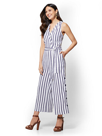 02c8162f835 NY C  Striped Linen Culotte Wrap Jumpsuit