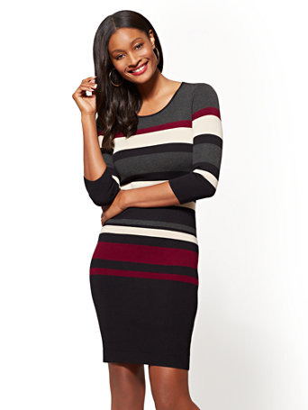 bfaadc32d36 Striped Scoopneck Sweater Dress - New York & Company
