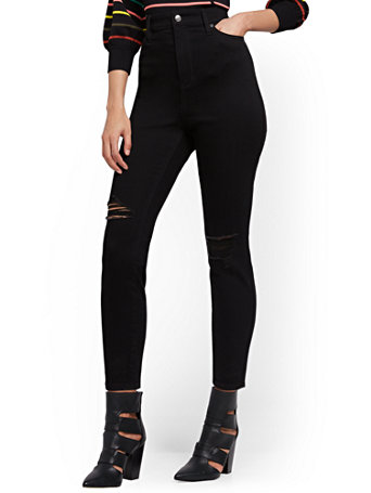 NY&Co Women's Super High-Waisted Abby No Gap Super-Skinny Ankle Jeans - Black Pants