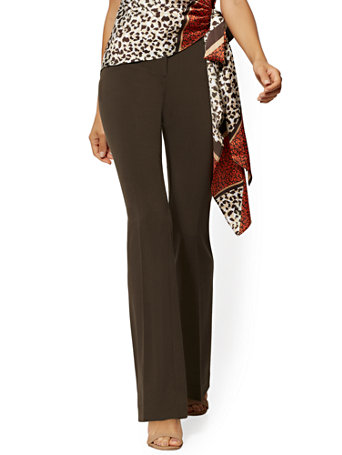 NY&Co Women's Tall Barely Bootcut Pants - Mid Rise - Double Stretch - 7th Avenue Luxe Brown