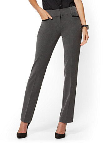 NY&Co Women's Tall Grey Straight-Leg Pants - Signature - Superstretch - 7th Avenue Charcoal Heather Grey