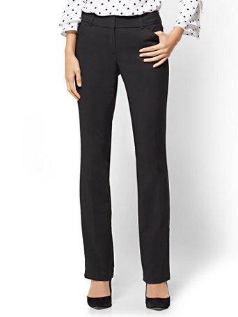 NY&Co Women's Tall Straight-Leg Pants - Signature Fit - All-Season Stretch - 7th Avenue Black