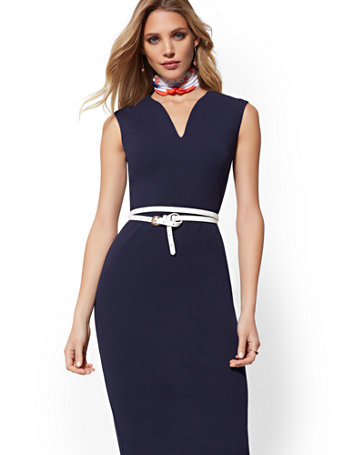 f18765750d NY C  Tall V-Neck Sheath Dress - Magic Crepe