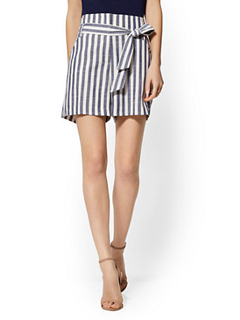 NY&Co Women's The Madie 6-Inch Short - Navy Blue Stripe - 7th Avenue Grand Sapphire