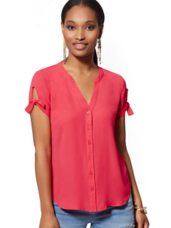 NY&Co Women's Tie-Sleeve Blouse - Soho Soft Shirt Pink Scarlet | Size Large | Polyester
