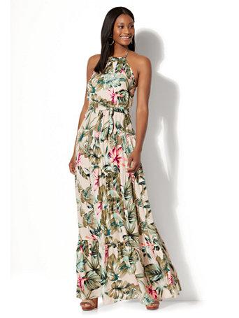 f16ac5f42a NY&C: Tiered Halter Maxi Dress - Tropical Print