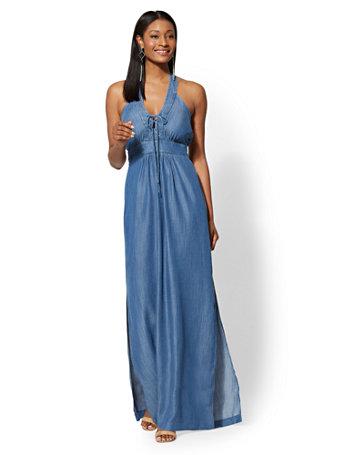 Chambray Lace-Up Halter Maxi Dress