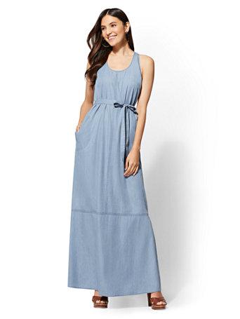58a47321ae NY C  Ultra-Soft Chambray Maxi Dress