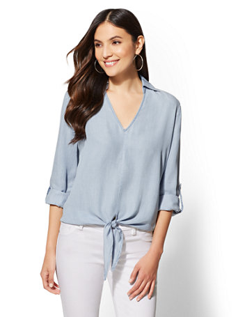 Ultra Soft Chambray Tie Front Shirt by New York & Company