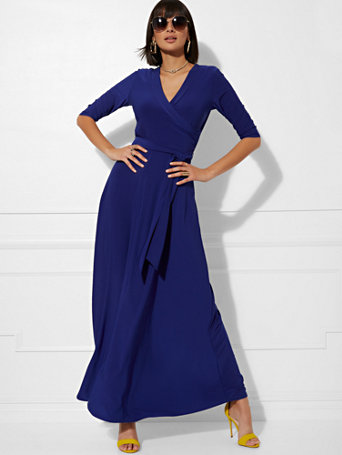 V Neck Wrap Maxi Dress by New York & Company