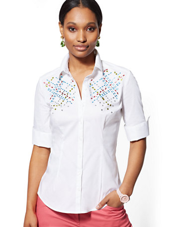 White Embellished Madison Stretch Shirt   7th Avenue by New York & Company
