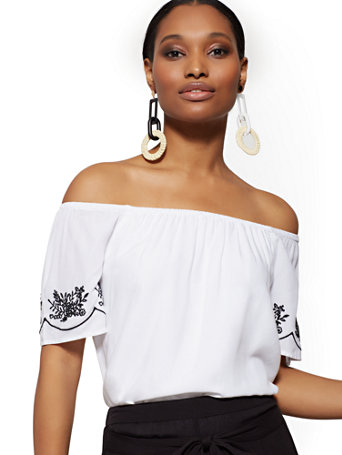White Embroidered Off The Shoulder Top by New York &Amp; Company