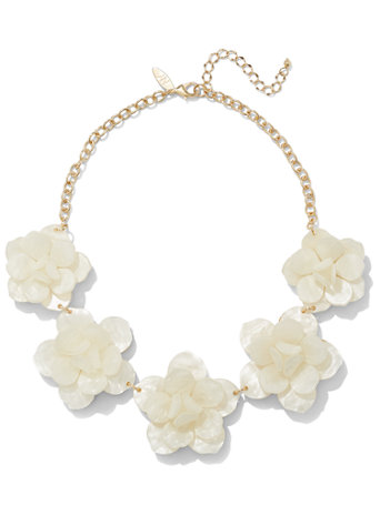White Floral Bib Necklace