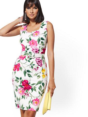 27a474cfa Shoptagr   White Floral Square Neck Sheath Dress Magic Crepe by New ...