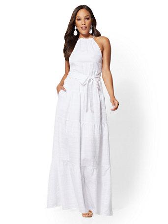 cdf5c39603 NY&C: White Halter Maxi Dress