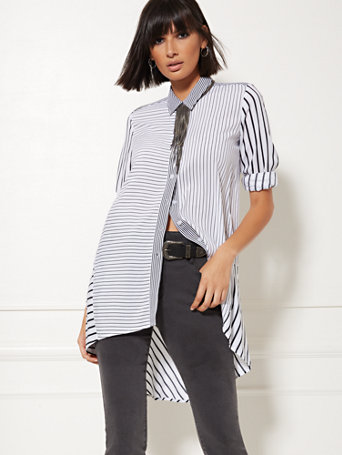 White Mixed Stripe Hi Lo Tunic Shirt by New York & Company
