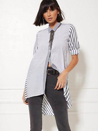 White Mixed Stripe Hi Lo Tunic Shirt by New York & Company