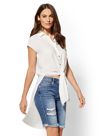 White Tie-Front Hi-Lo Shirt