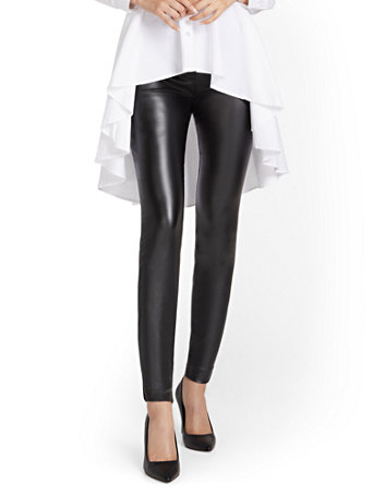 NY&Co Women's Whitney Faux-Leather High-Waisted Pull-On Slim-Leg Pants