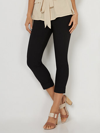 NY&Co Women's Whitney High-Waisted Pull-On Capri Pants Black