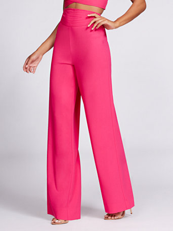 newest a2667 9a5a8 NY C  Wide-Leg Pant - Hot Pink - Gabrielle Union Collection