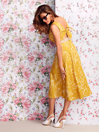 Winona Floral Tie Back Linen Flare Dress   Eva Mendes Collection by New York & Company