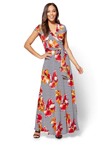 Nyc wrap maxi dress floral stripe 041 mightylinksfo