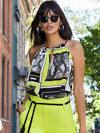 Yellow Mixed Print Ruffled Halter Top   Soho Soft Blouse by New York & Company