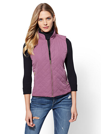 Zip Front Puffer Vest by New York & Company