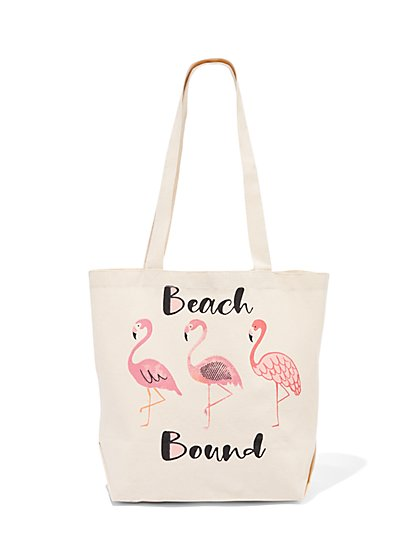 """Beach Bound"" Canvas Tote Bag - New York & Company"