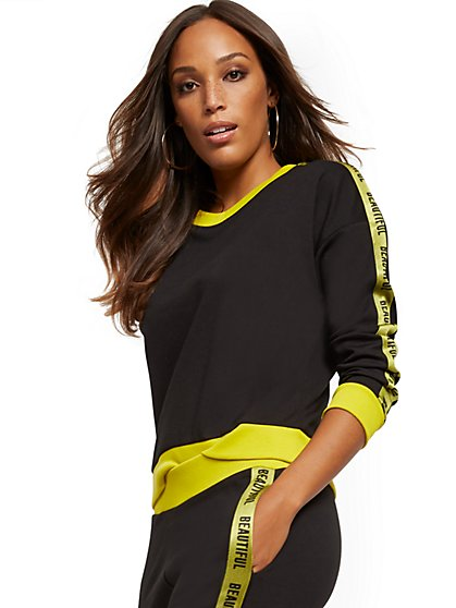 """Beautiful"" Racing-Stripe Sweatshirt - Soho Street - New York & Company"