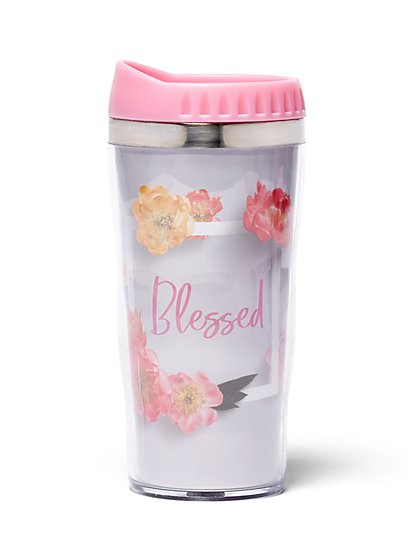 """Blessed"" Floral Travel Mug - New York & Company"
