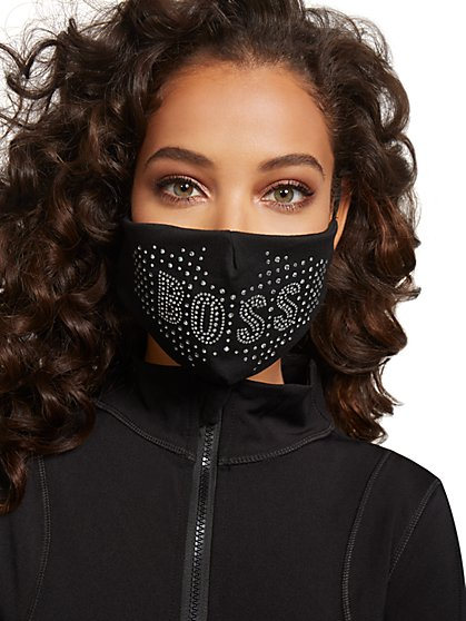 """Boss"" Stud Face Mask - New York & Company"